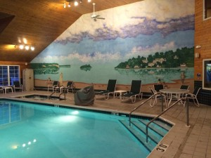 Enjoy a swim or hang out in the hot tub and check out our Ephraim Wisconsin mural.